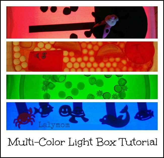 DIY Light Box Multi colored Light Box Tutorial & Activities for kids from Lalymom
