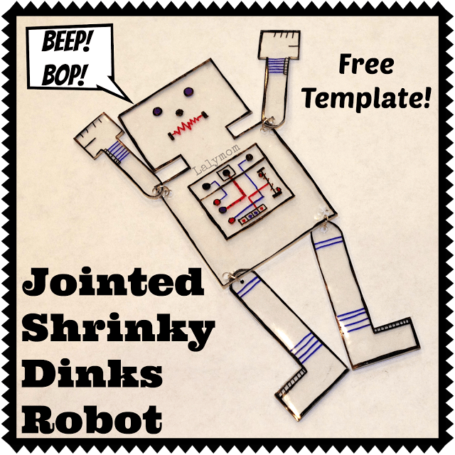 Shrinky Dinks Jointed Arms and Legs Robot from Lalymom