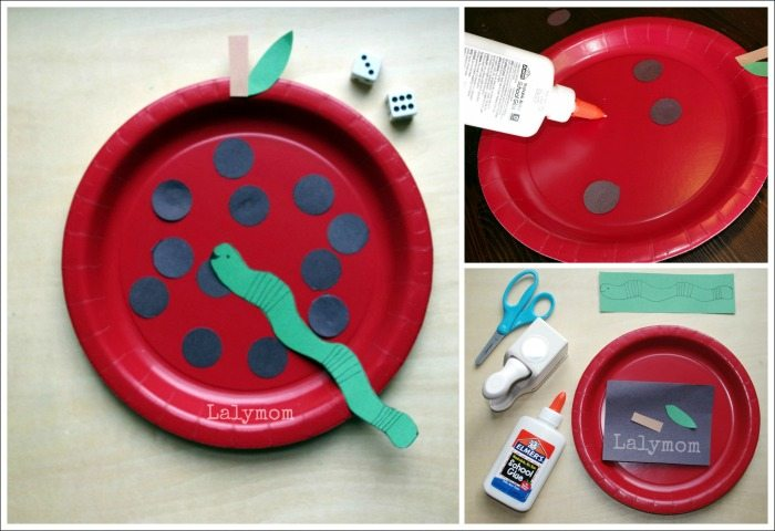 Apple themed Fall Fine Motor Game for Kids from Lalymom- check out all 7 Cut Punch Paste Fall art Projects in the post!