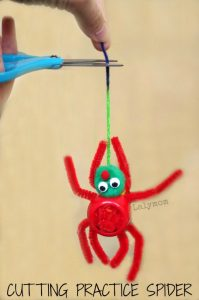 Scissor Practice Activity for Preschoolers - Cutting Practice Spider from Lalymom