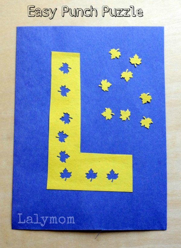 Easy Fall Leaf Craft- L is for Leaf Punch Puzzle. Check out all 7 Fall Cut Punch Paste Ideas for Preschoolers from Lalymom. How easy and fun is this!