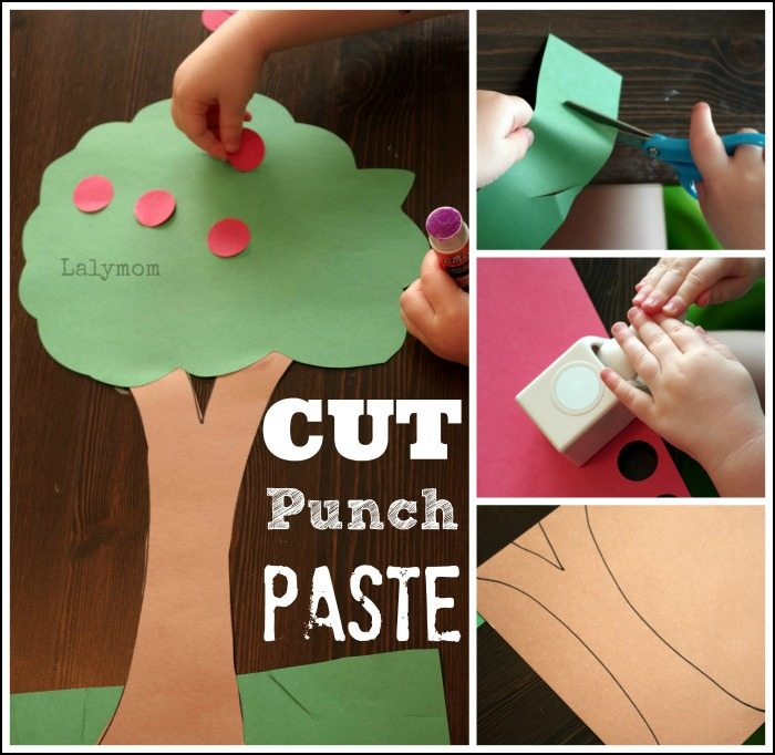 Fall Themed Apple Tree Craft for Preschoolers. Collection of 7 Fine Motor Practice Cutting Punch Paste Ideas from Lalymom. Super simple and lots of fun!