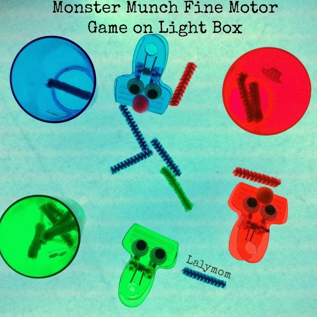 Monster Munch Fine Motor Game for Kids on Light Box from Lalymom