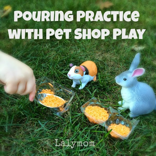 Pouring Practice Activities for Kids Using Plastic Animals- Fine Motor Fridays