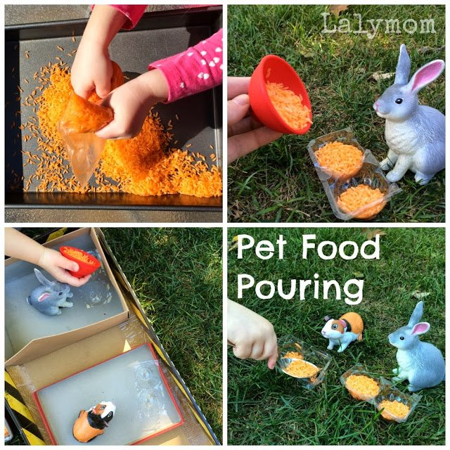 Pouring and Spooning Activities for Kids Using Pretend Pet Food from Lalymom