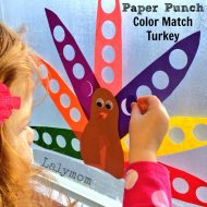 Paper Punch Color Match Turkey- A Thanksgiving Fine Motor Activity for Kids