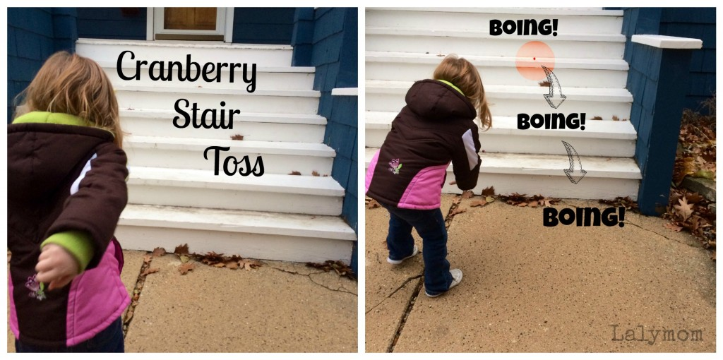 Cranberry Stair Toss for Fine and Gross Motor Development from Lalymom