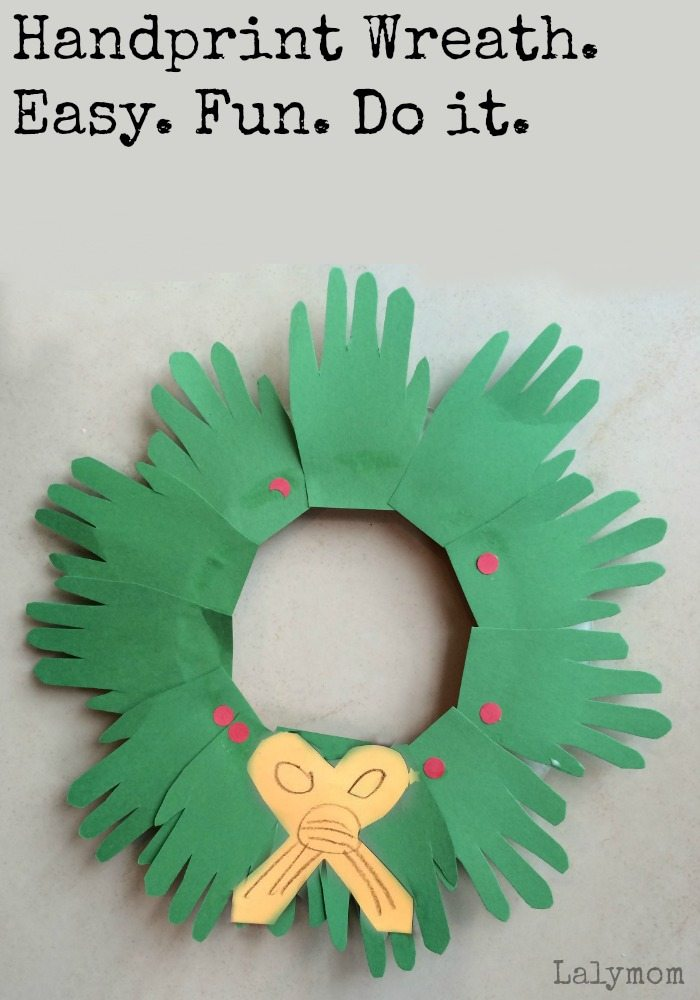 Christmas crafts for kids handprint wreaths lalymom for Christmas crafts for pre schoolers