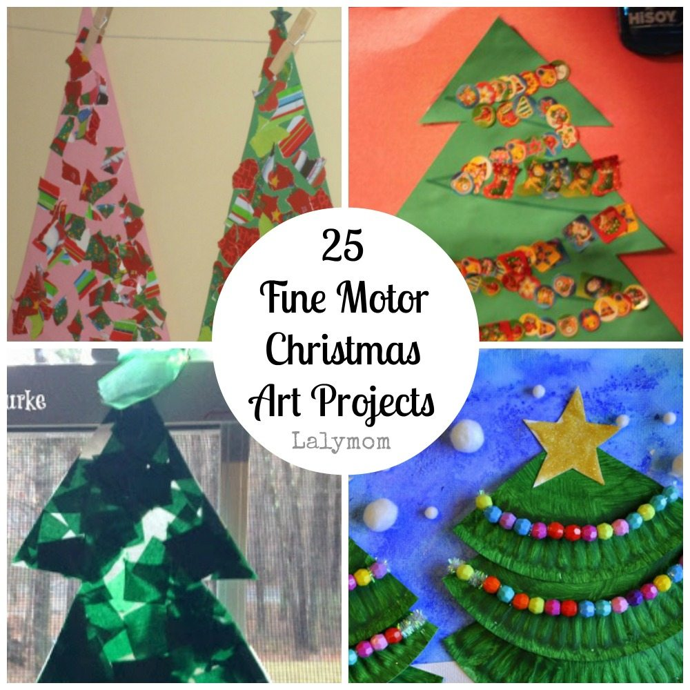 Christmas Tree Fine Motor Christmas Art Projects for Kids from Lalymom- Fine Motor Fridays MEGA Roundup #FineMotor #CreativeMamas #PlayMatters #KBNMoms