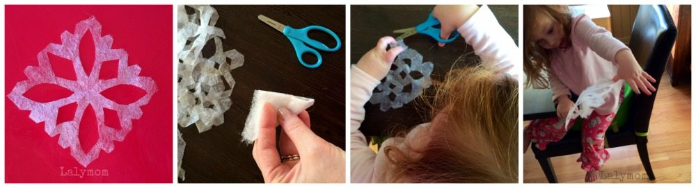 Dryer Sheet Snowflakes for Scissors Skills Practice from Lalymom