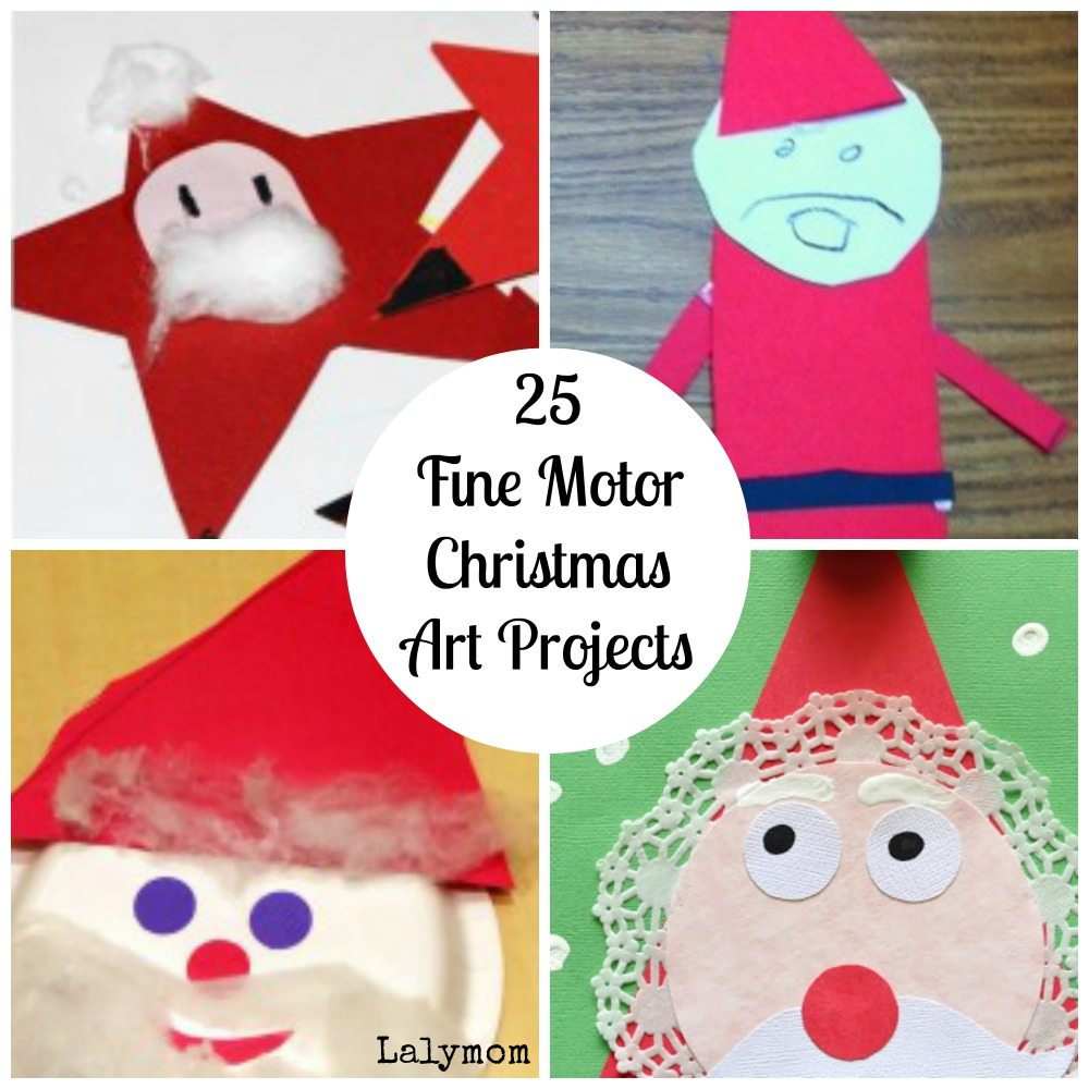 Santa Fine Motor Christmas Art Projects for Kids from Lalymom- Fine Motor Fridays MEGA Roundup #FineMotor #CreativeMamas #PlayMatters #KBNMoms