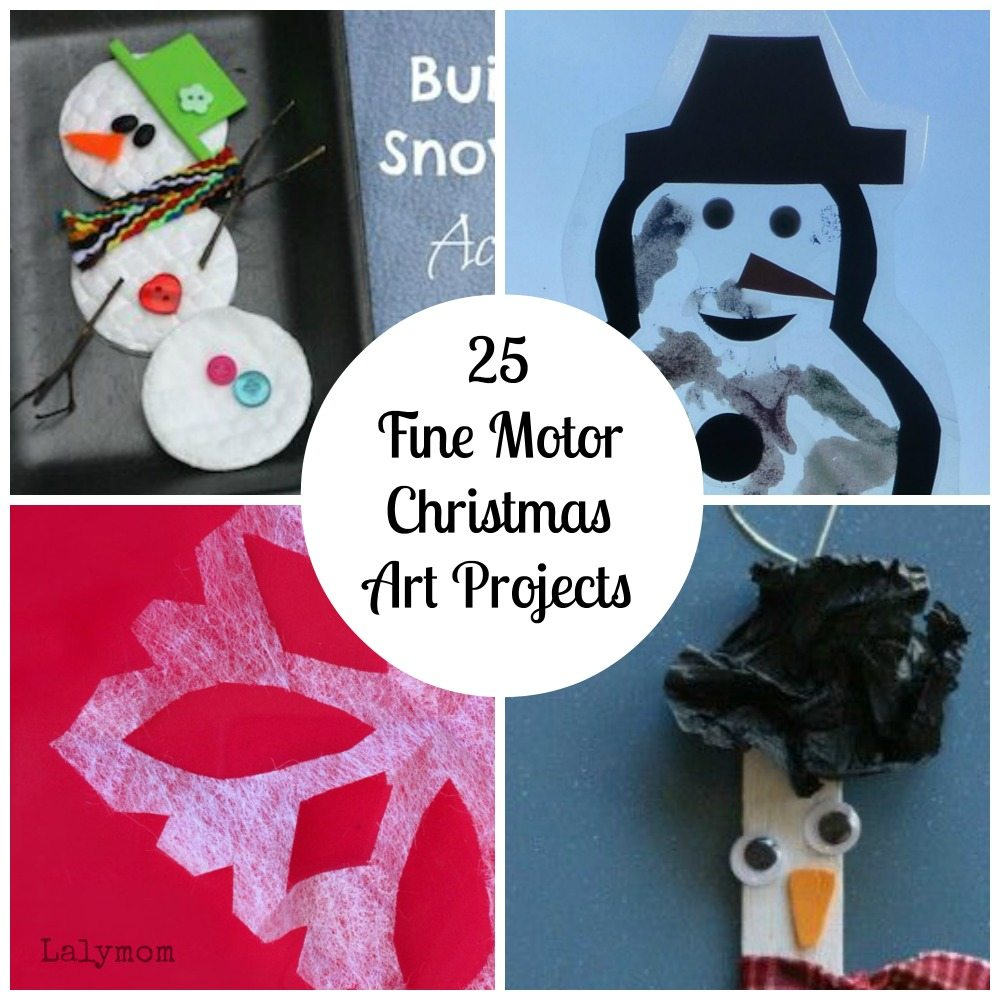 Snow & Snowman Fine Motor Christmas Art Projects for Kids from Lalymom- Fine Motor Fridays MEGA Roundup #FineMotor #CreativeMamas #PlayMatters #KBNMoms