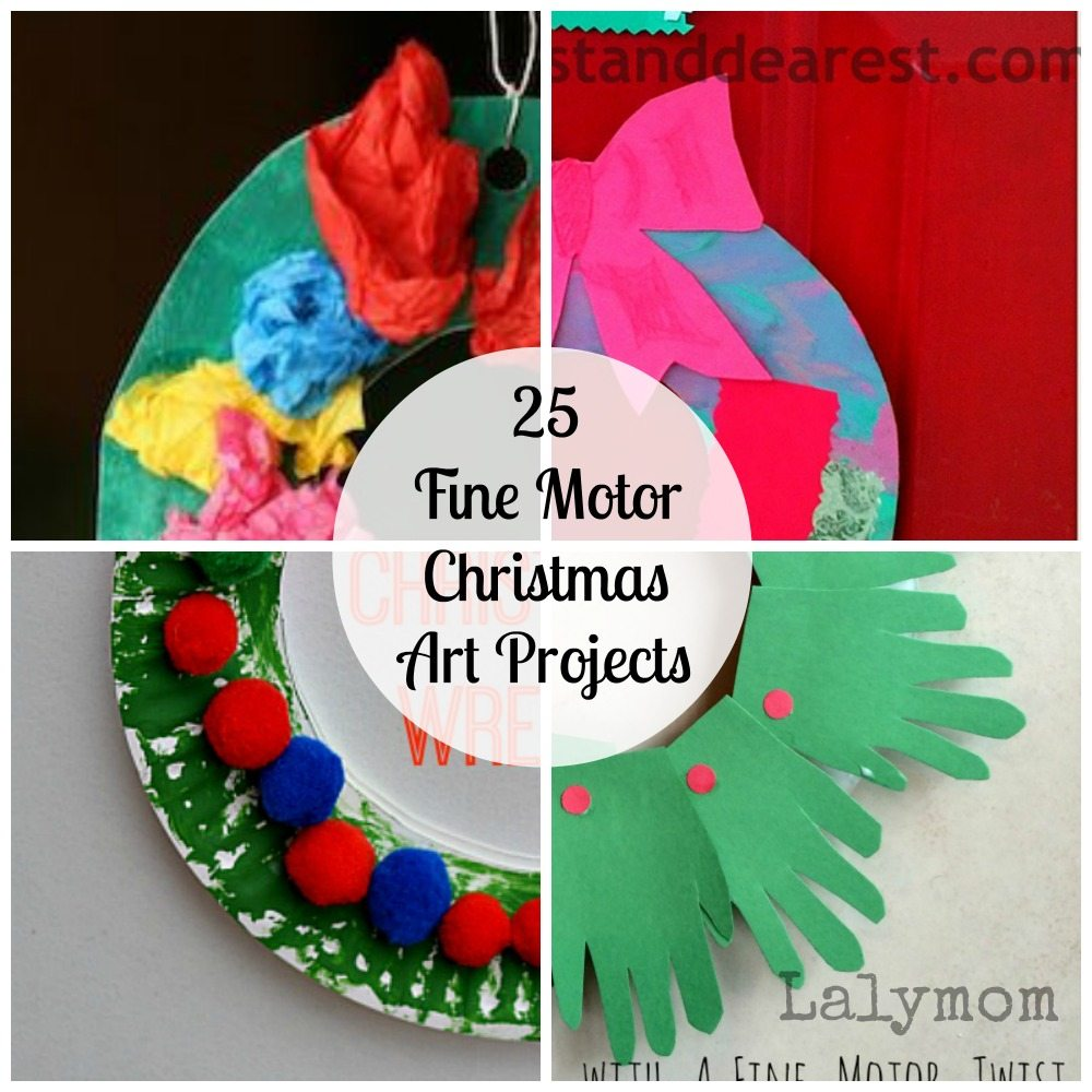 Wreath Fine Motor Christmas Art Projects for Kids from Lalymom- Fine Motor Fridays MEGA Roundup #FineMotor #CreativeMamas #PlayMatters #KBNMoms