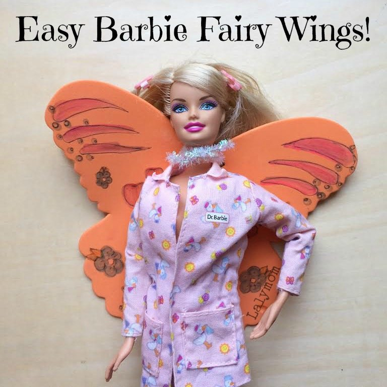 Easy Barbie Doll Fairy Wings Tutorial from Lalymom