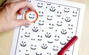 Free Preschool Printable Halloween Games Worksheet from Lalymom.com - Great for practicing circles and visual tracking! Sidebar