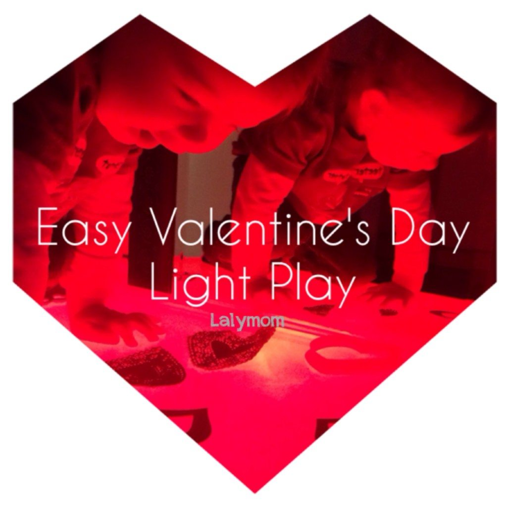 Easy Valentine's Day Light Play- Use color, foam shapes and a light box for easy Valentine's day light play.