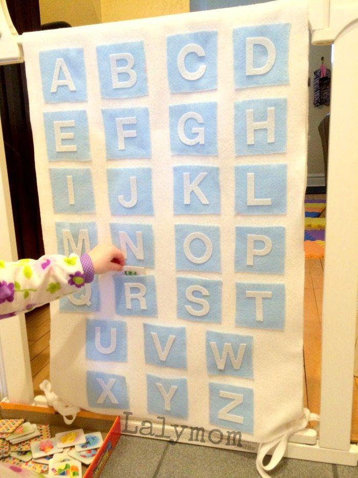 DIY Baby Gate Cover Alphabet Chart from Lalymom #SmartMarch #BabyGear #Homeschool
