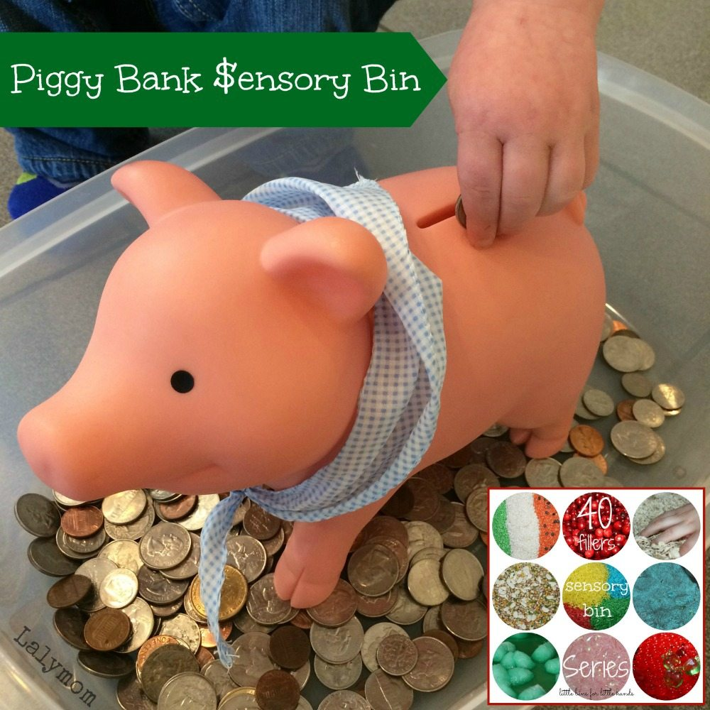 Piggy Bank Sensory Bin Using Coins from Lalymom Part of 40 Sensory Bin Fillers Series