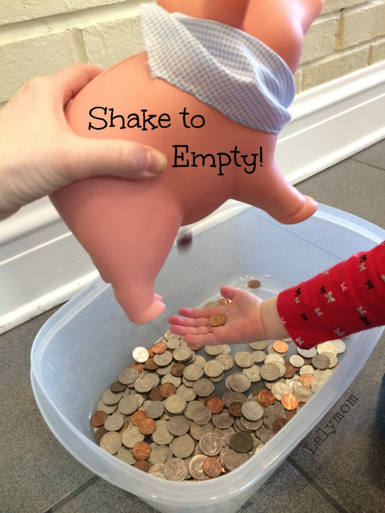 Piggy Bank Money Sensory Bin for Preschoolers from Lalymom