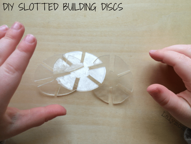 DIY Slotted Disc Preschool Manipulatives for Building from Lalymom