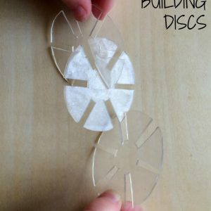 How to Make Slotted Building Discs Preschool Manipulatives Using #6 Plastic Shrinky Dinks from Lalymom