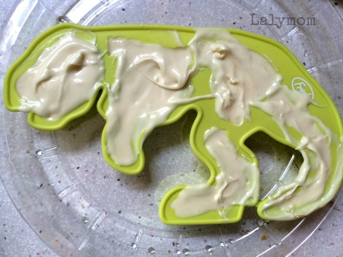Bakers White Chocolate in Silicon Candy Molds for Dinosaur Excavation Dessert from Lalymom