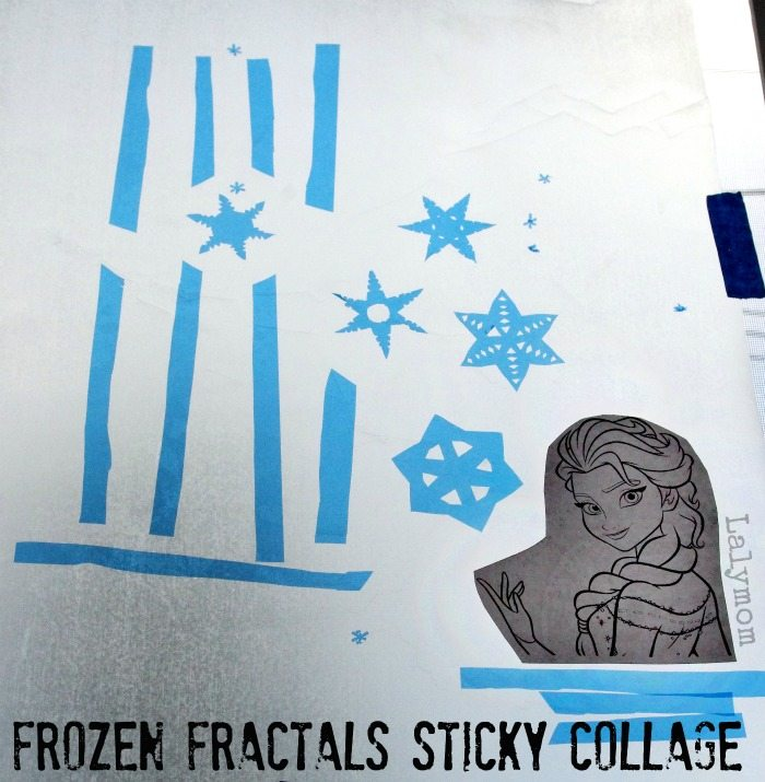 Frozen Fractals Fine Motor Collage - Inspired by Disneys Frozen - Explore Fractals and Patterns Using a Free Elsa Printable. Fine Motors Fridays on Lalymom