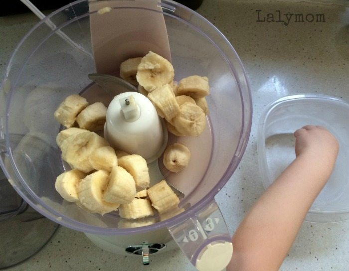 One Ingredient Banana Ice Cream Turned into Dinosaur Excavation Activity for Kids from Lalymom