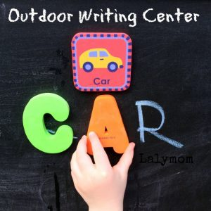 Summer Writing Activities for Kids - Make an Easy Outdoor Writing Center for Preschoolers. Great for Kindergarten Readiness from Lalymom