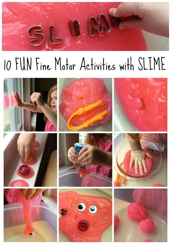 10 FUN Fine Motor Activities for Preschoolers and Kindergarteners Using Slime from Lalymom