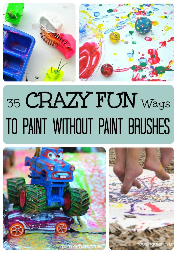 35 Crazy Fun Ways to Paint Without Paint Brushes on Lalymom.com