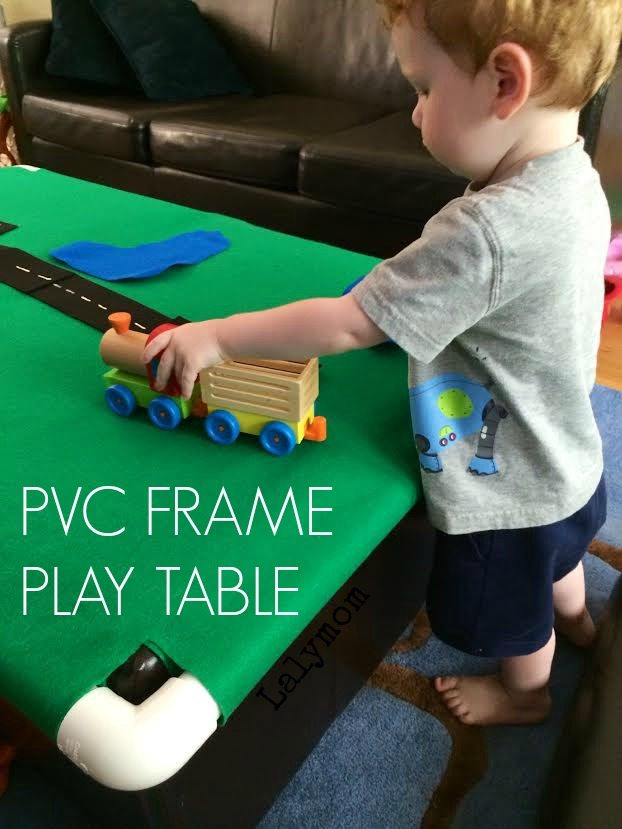 DIY PVC Frame Play Table - Portable, storable, slides or folds away! On Lalymom.com