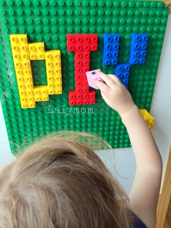 Duplo or Lego Play Wall that is Removable, Portable and Non-Permanent from lalymom