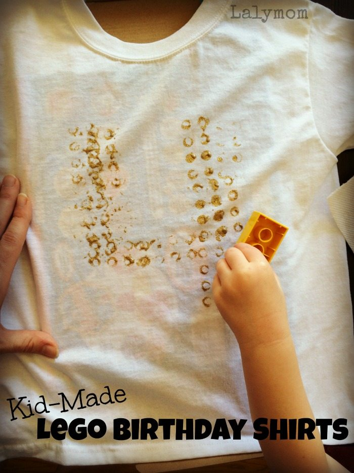 LEGO Paint Stamped Birthday Shirts - make great gifts for LEGO Lovers! Would be a great party activity or favor as well! From Lalymom