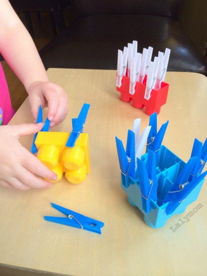 20 Easy Fine Motor Activities Using Clothespins- Clothespins and Mega Blocks on Lalymom.com