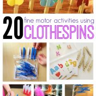 20 Fine Motor Skills Activities for Kids Using Clothespins on Lalymom.com #KBN #OT #EarlyEd