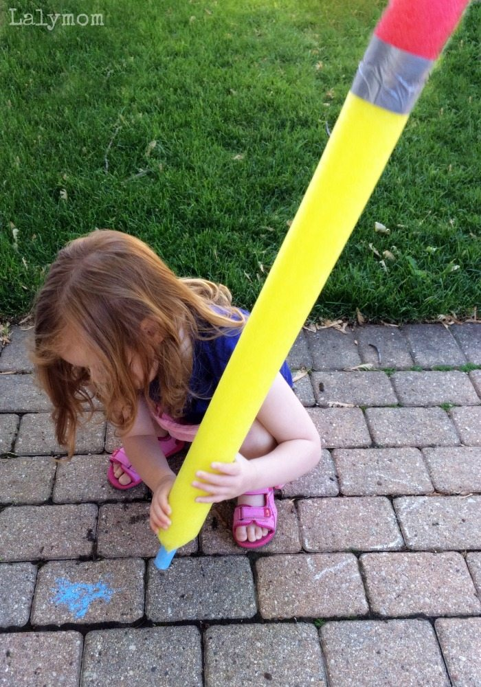 Awesome and Easy Pool Noodle Pencil on Lalymom.com. Perfect Back to School Party Craft or Funny Teacher Gift!