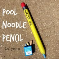 Cool Back to School Craft Alert! Pool Noodle Pencil on Lalymom.com. Perfect craft for any Back to School Party or Funny Teacher Gift
