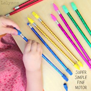 Pencils + Erasers Color Match makes for SUPER simple fine motor practice with everyday objects for preschoolers and older toddlers. Found on Lalymom.com