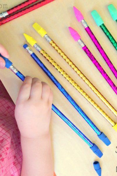 Pencils + Erasers Color Match Fine Motor Activity
