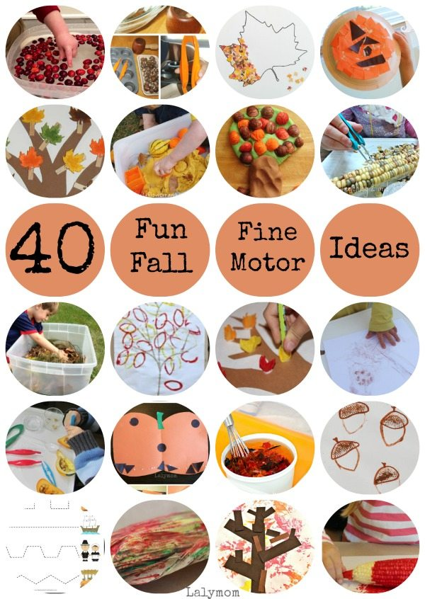 40 FUN Fall Fine Motor Activities on Lalymom.com - oh these look fun!