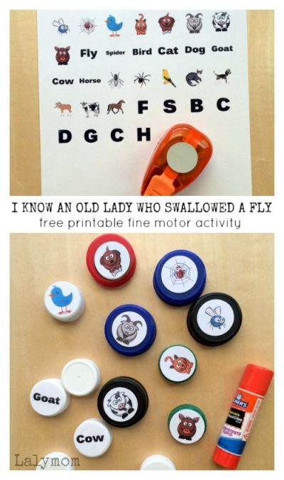 Free Printable Kids Activity for There Was an Old Lady Who Swallowed a Fly on Lalymom.com - fun fine motor activity!