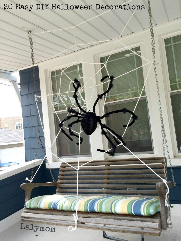 front porch spiderweb 20 easy diy halloween decorations on lalymomcom cute - Easy To Make Halloween Decorations For Outside