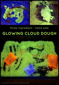 Taste Safe Play Recipe for Kids - Glowing Cloud Dough by Lalymom on PowerfulMothering.com - this looks SO cool!