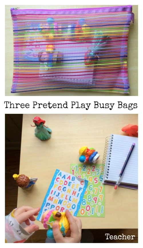 Three Pretend Play Busy Bags for Preschoolers - Teacher Busy Bags - what a cute kids activity - my kids love playing school!