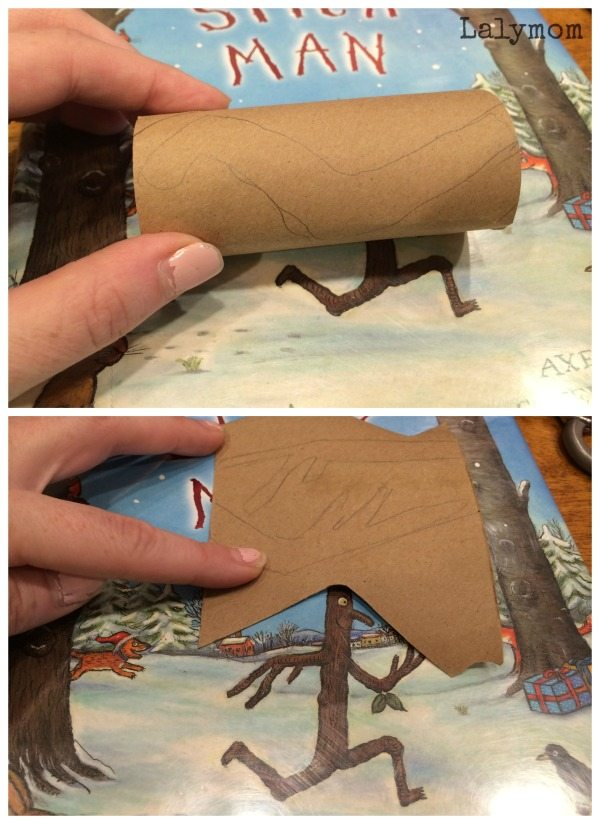 Tutorial to make a recycled cardboard Stick Man Craft on Lalymom.com - hehe how cute! My kids love this book!