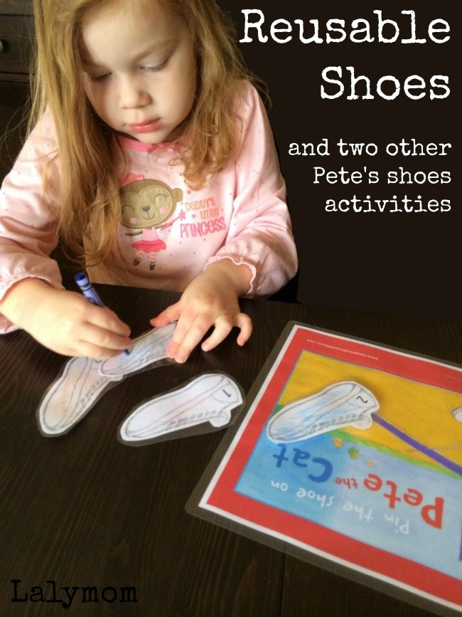 3 Pete The Cat Loves his School Shoes Activities on Lalymom.com Reusable Shoes Activity for Kids
