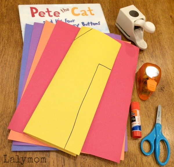 Cut Punch Paste Pete the Cat Buttons Book Activity for Kids on Lalymom.com