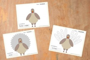 Free Printable Thanksgiving Turkey Placemats on Lalymom.com - Perfect kids activity to keep them busy while they wait for dinner!