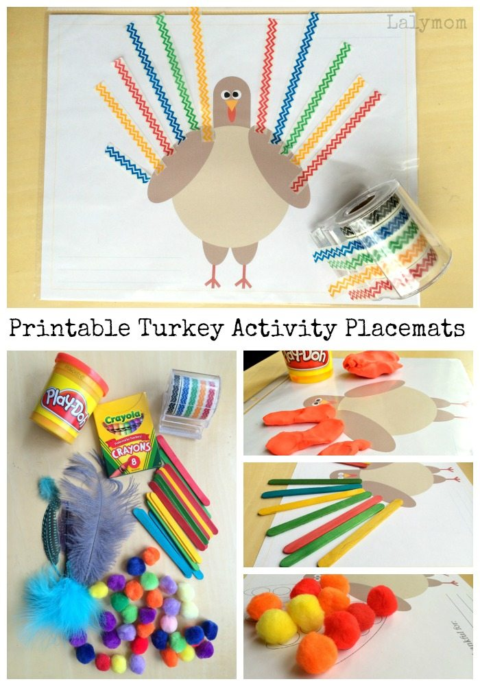 Free Printable Turkey Activity Placemats on Lalymom.com - perfect for playdough mats, pom poms, crayons, washi tape and more! Great fine motor skills activity too!
